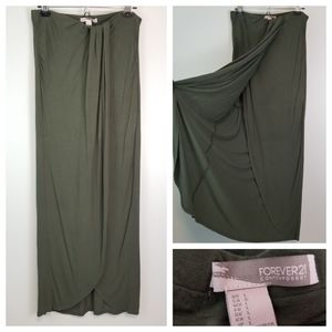 Forever21 Jr L Olive Green Split Front Maxi Skirt